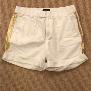 J crew gold foil tuxedo striped short